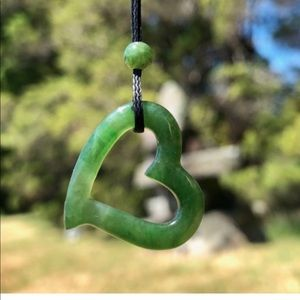Nephrite Jade Floating Heart Necklace